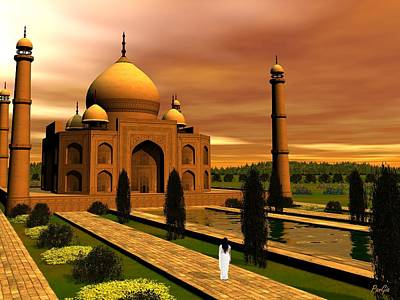 Digital Art - Taj Mahal by John Pangia