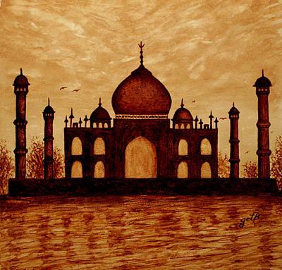 Taj Mahal Painting - Taj Mahal Lovers Dream Original Coffee Painting by Georgeta  Blanaru