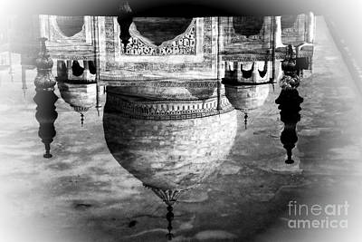 Photograph - Taj Mahal Reflection - Black And White by Jacqueline M Lewis