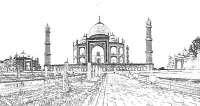 Photograph - Taj Mahal Sketch by C H Apperson