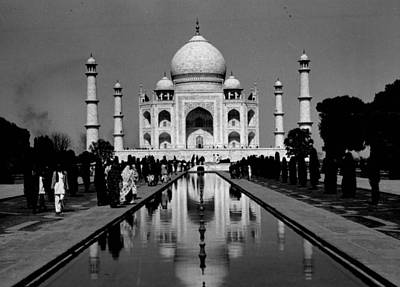 White Marble Photograph - Taj Mahal View From The Front by Retro Images Archive