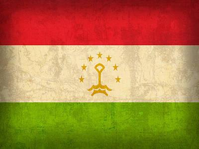 Flag Mixed Media - Tajikistan Flag Vintage Distressed Finish by Design Turnpike