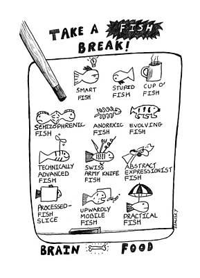 Lightbulb Drawing - Take A Fish Break: Title by Stephanie Skalisk