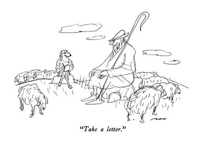 Cross Legged Drawing - Take A Letter by Al Ross