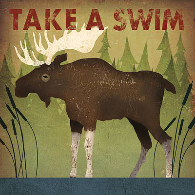 Contemporary Forest Painting - Take A Swim Moose by Ryan Fowler