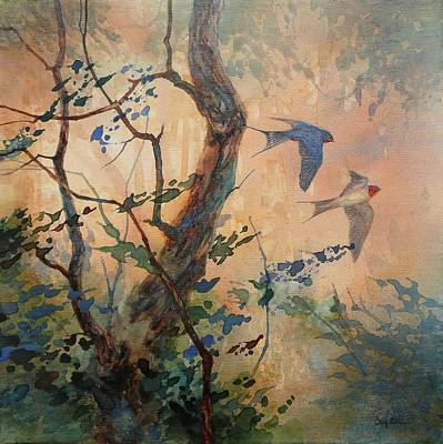 Swallow Painting - Take Flight - Barn Swallows by Floy Zittin