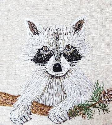 Tapestry - Textile - Take Me Home Raccoon Embroidery Illustration by Stephanie Callsen