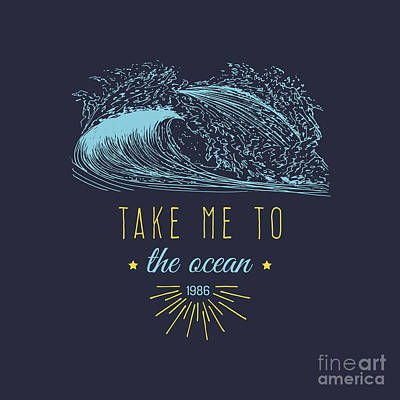 Waves Digital Art - Take Me To The Ocean Vector Hand by Vlada Young