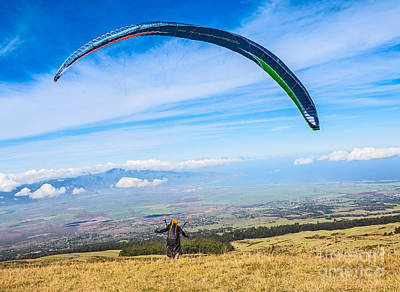 Keith Richards - Take Off - paraglider taking off high over Maui. by Jamie Pham