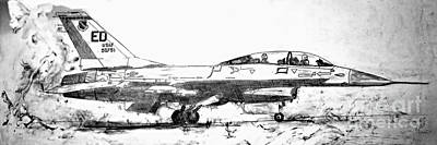 Jet Star Drawing - Take Off F-16 by Theresa Hudson