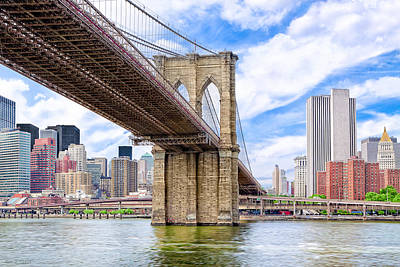 Take The Brooklyn Bridge Into Manhattan Art Print by Mark E Tisdale