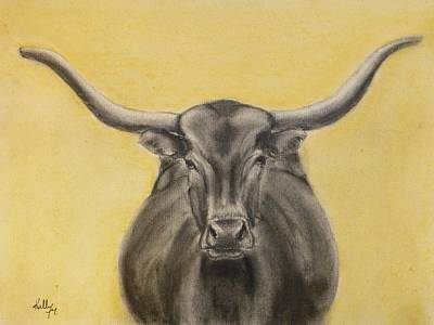 Drawing - Take The Bull By The Horn by Kelly Mills