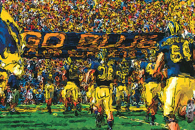 University Of Michigan Wall Art - Painting - Take The Field by John Farr