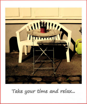 Take Your Time And Relax Art Print by Susanne Van Hulst