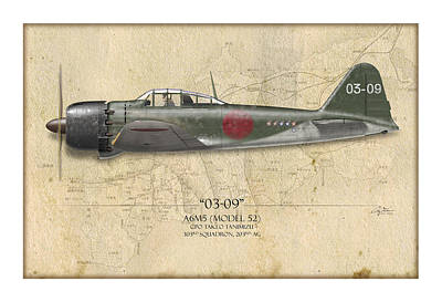 World War 2 Painting - Takeo Tanimizu A6m Zero - Map Background by Craig Tinder