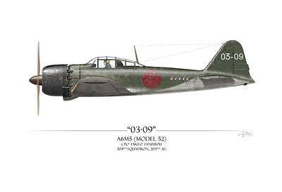 Aircraft Painting - Takeo Tanimizu A6m Zero - White Background by Craig Tinder