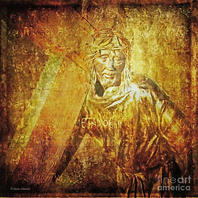 Takes Up The Cross  Via Dolorosa 2 Art Print by Lianne Schneider