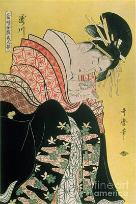 Hairstyle Painting - Takigawa From The Tea House Ogi by Kitagawa Otamaro