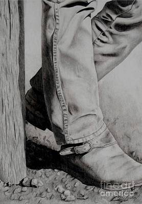 Working Cowboy Drawing - Takin' A Break by Katie Hendrix Long