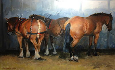 Horse Painting - Taking A Break  Chertsey Show by Jennifer Wright