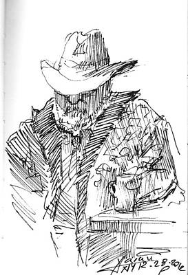 Cowboy Drawing - Taking A Nap by Ylli Haruni