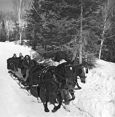 Taking A Sleigh Ride In Canada Art Print by Underwood Archives