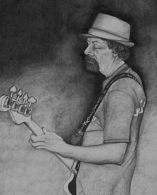 Bass Player Drawing - Taking Care Of The Low End. by John Stuart Webbstock