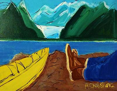 Mendenhall Glacier Painting - Taking It Easy by Shelia Gallaher Chancey