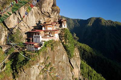 Prayer Flags Photograph - Taktsang Dzong (monastery by Peter Adams