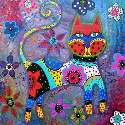 Talavera Cat II Print by Pristine Cartera Turkus