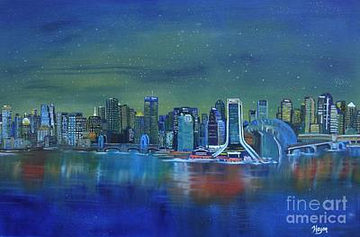 Prussian Blue Painting - Tale Of 4 Cities by Barbara Hayes