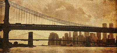 Skylines Royalty-Free and Rights-Managed Images - Tale of Two Bridges by Joann Vitali