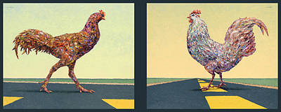 Farm Animal Painting - Tale Of Two Chickens by James W Johnson