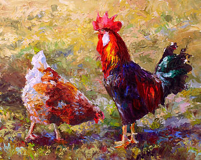 Birds Royalty-Free and Rights-Managed Images - Rooster and Hen Farm Art Chicken Painting  by Karen Whitworth