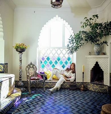 Armchair Photograph - Talitha Getty Sitting By Window by Patrick Lichfield