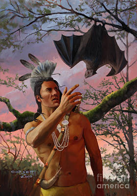 Indian Tribal Art Painting - Talk To Bats by Rob Corsetti