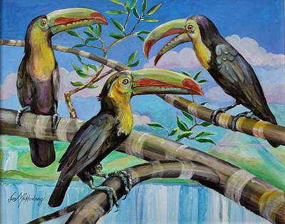 Talkie Toucans Art Print by Jan Mecklenburg