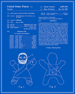 Religious Art Digital Art - Talking Jesus Doll Patent - Blueprint by Finlay McNevin
