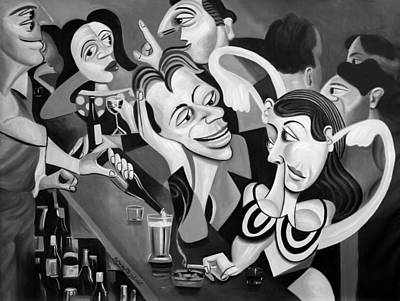Cubism Wall Art - Painting - Talking Sweet Nothings At The Bar by Anthony Falbo