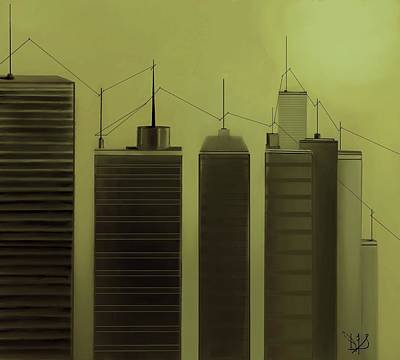 Telephone Poles Mixed Media - Talking Towers  #11 by Diane Strain