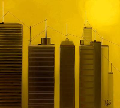Telephone Poles Mixed Media - Talking Towers  #13 by Diane Strain
