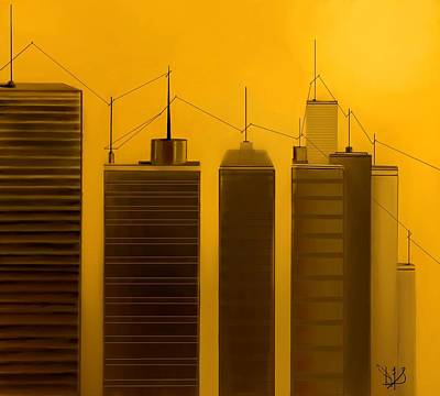 Telephone Poles Mixed Media - Talking Towers  #2 by Diane Strain