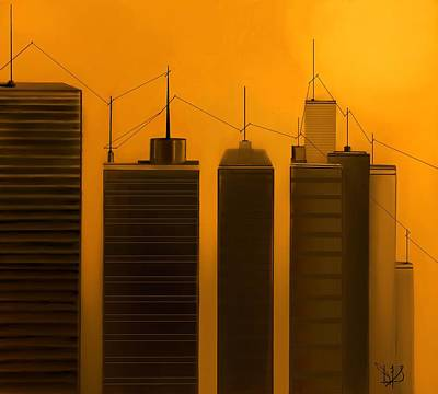 Telephone Poles Mixed Media - Talking Towers  #3 by Diane Strain