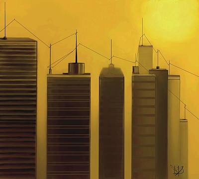 Telephone Poles Mixed Media - Talking Towers  #7 by Diane Strain