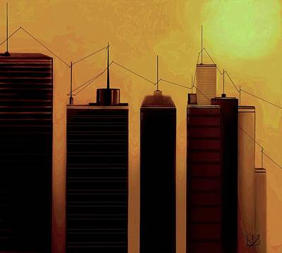 Telephone Poles Mixed Media - Talking Towers  #9 by Diane Strain