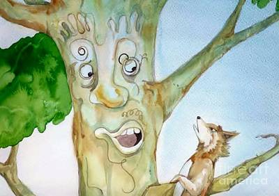 Painting - Talking Tree From Foxy Tales 2 by Donna Acheson-Juillet