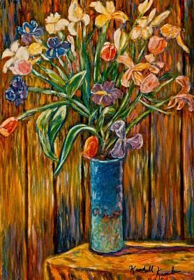 Tall Blue Vase Print by Kendall Kessler