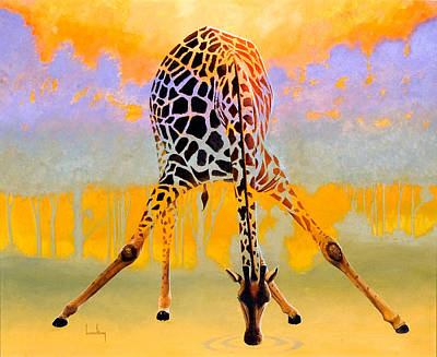 Giraffe Painting - Tall Drink by Keith Alway
