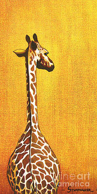 Giraffe Eyes Painting - Tall Giraffe Looking Back by Jerome Stumphauzer