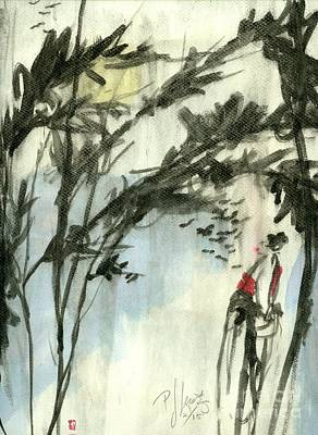 Asian Woman Painting - Tall Morning by P J Lewis
